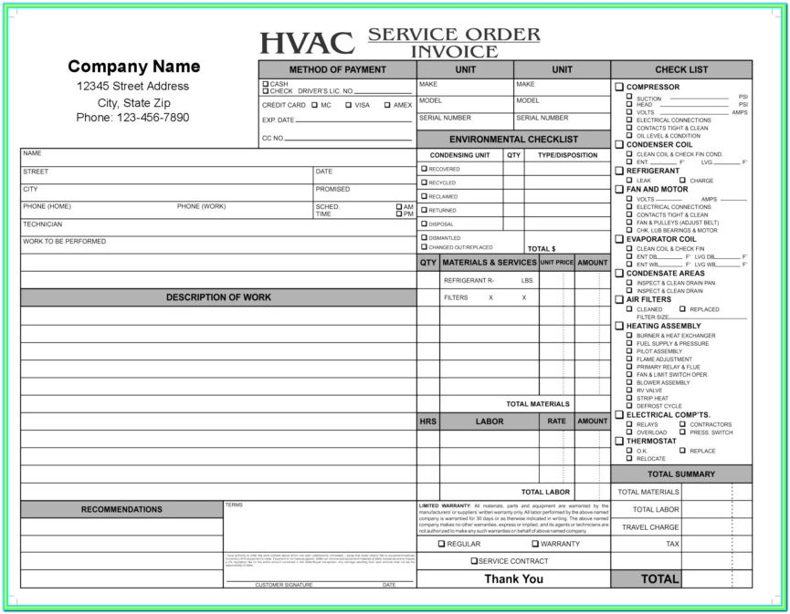 Free Hvac Forms Templates
