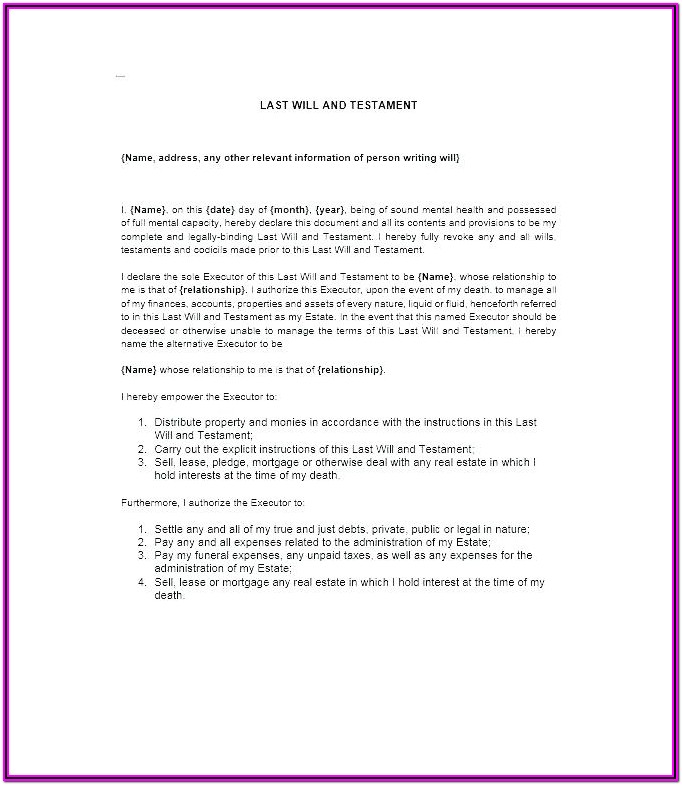Free Last Will And Testament Blank Forms