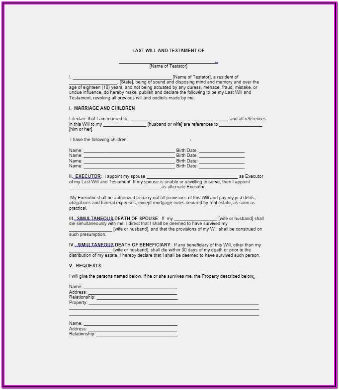 Free Last Will And Testament Forms