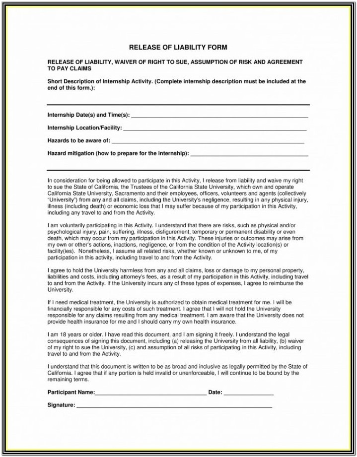 Free Liability Release Forms Printable Online
