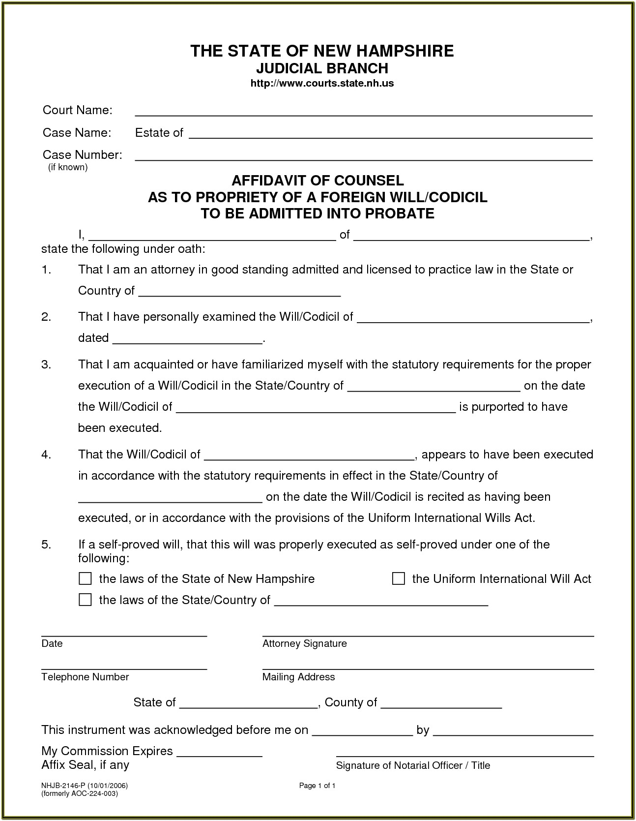 Free Printable Blank Legal Forms