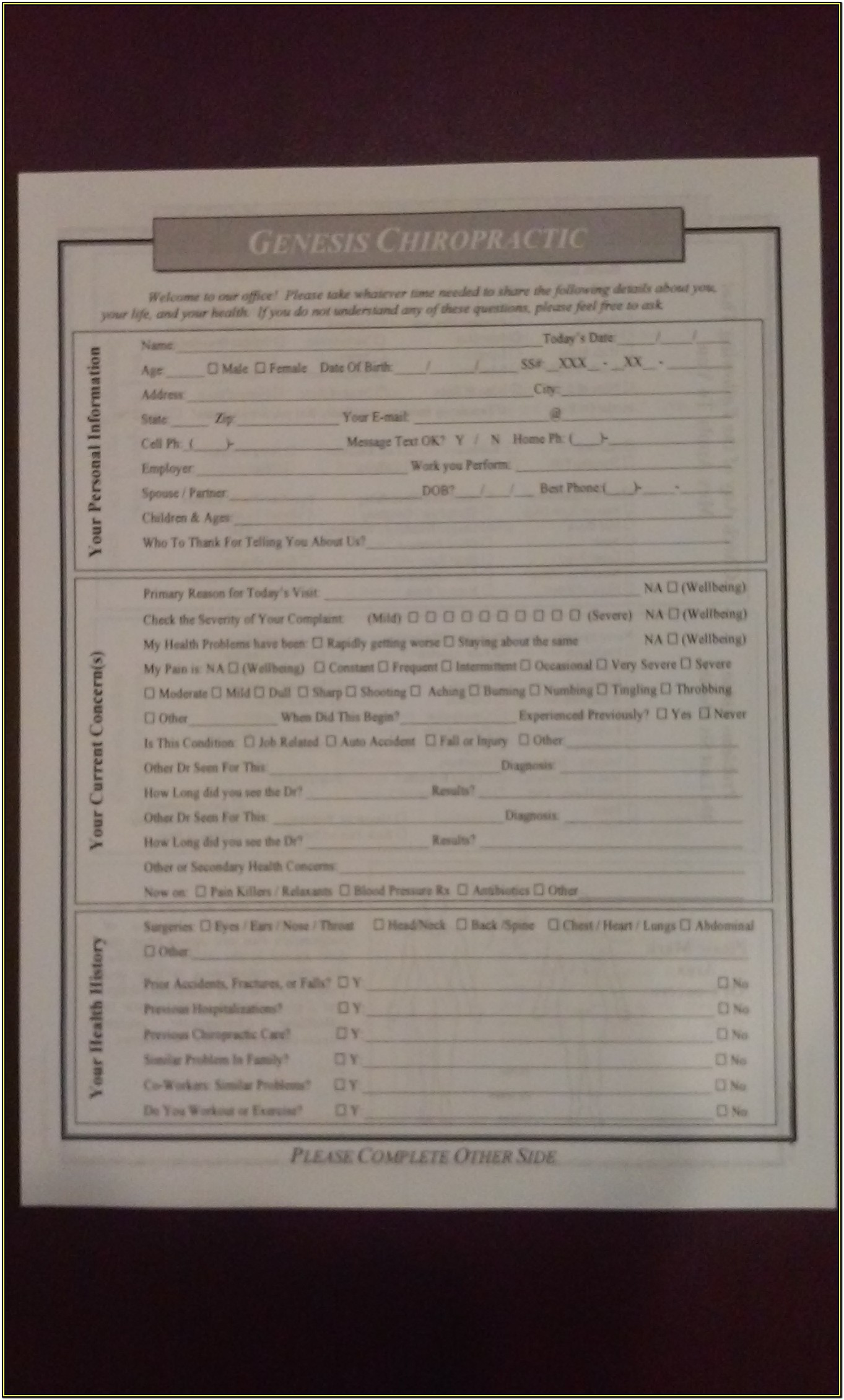 Free Printable Chiropractic New Patient Forms