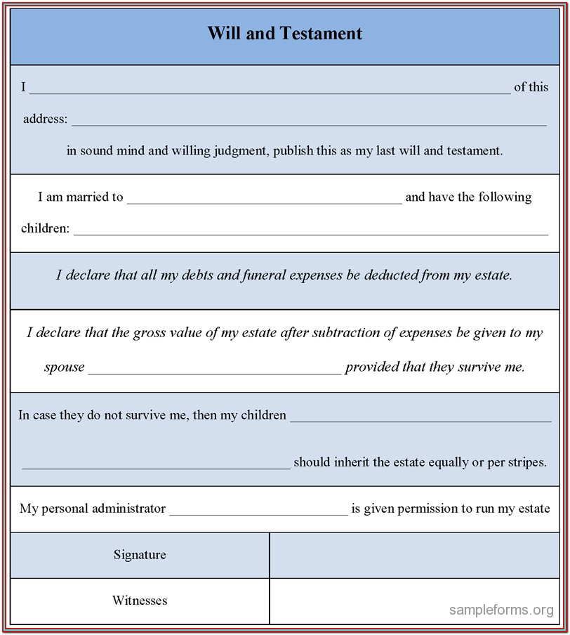 Free Printable Illinois Last Will And Testament Form