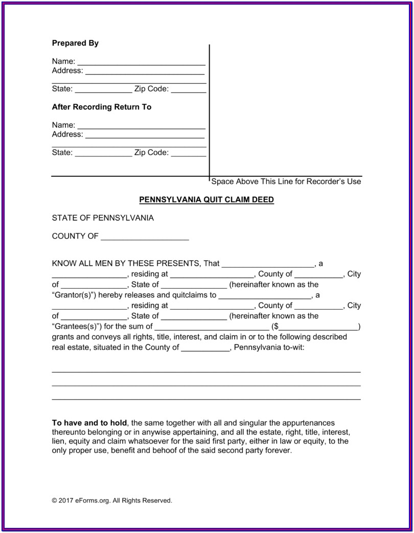 Free Quit Deed Form