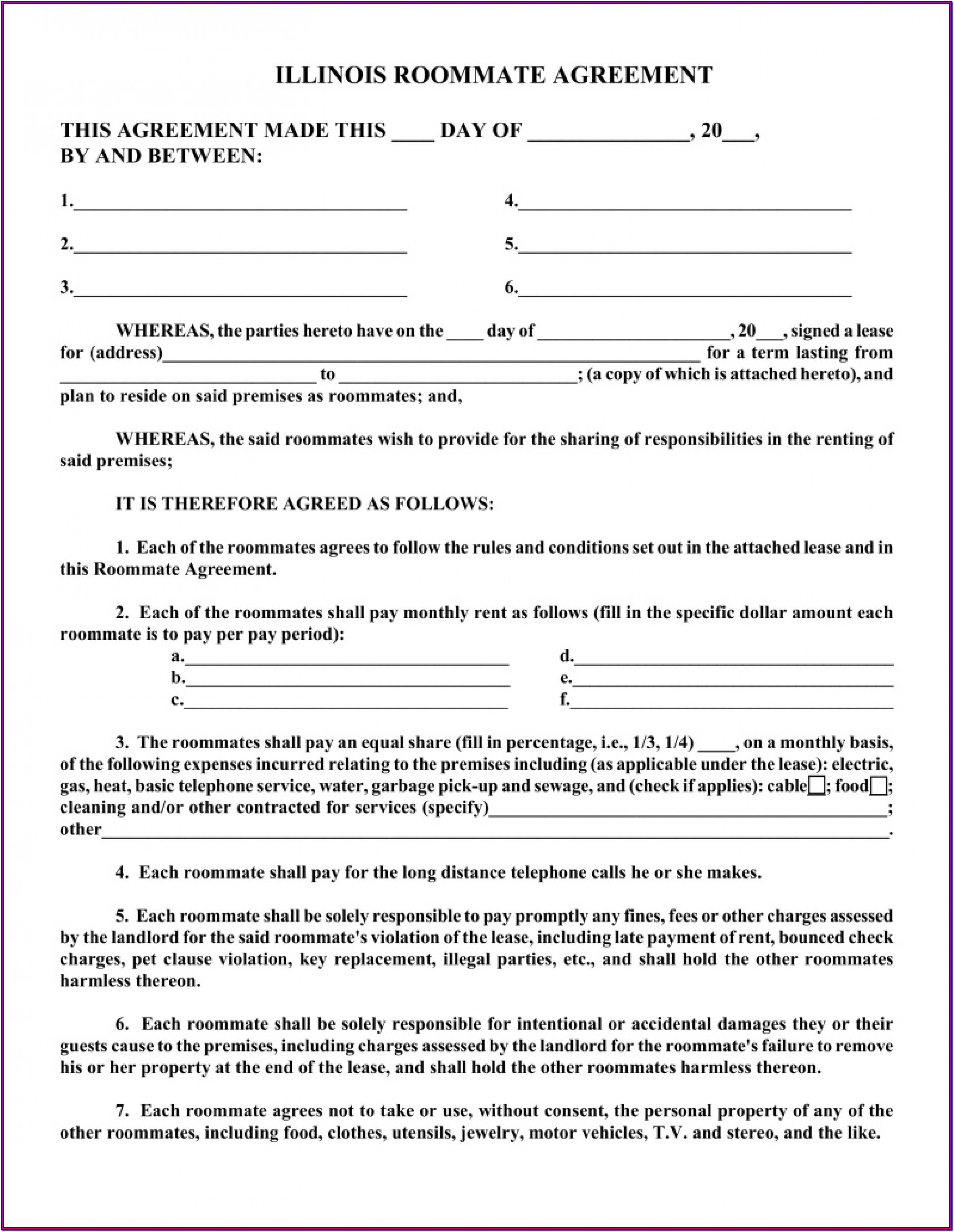 Free Roommate Lease Agreement Form