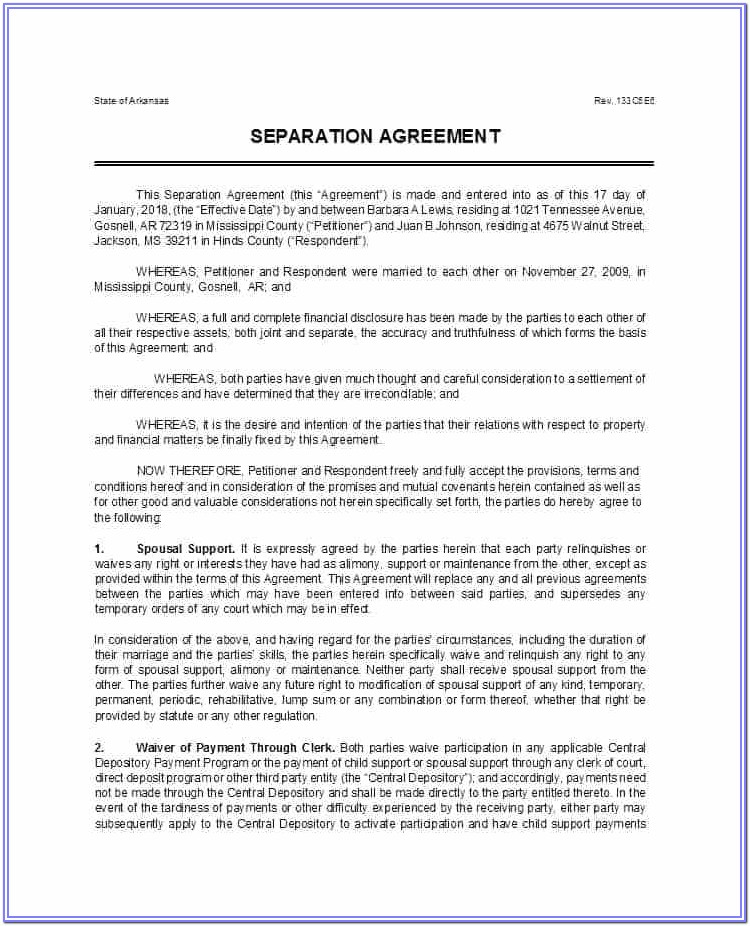 Free Separation Agreement Forms