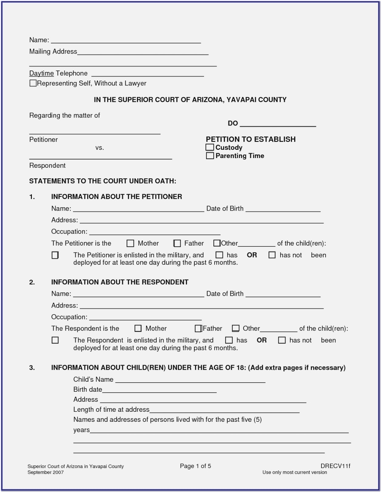 Free Temporary Child Custody Forms