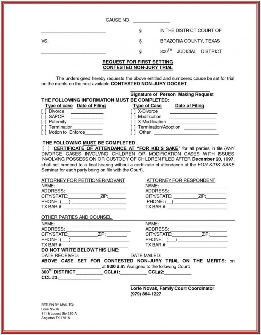Free Uncontested Divorce Forms Texas