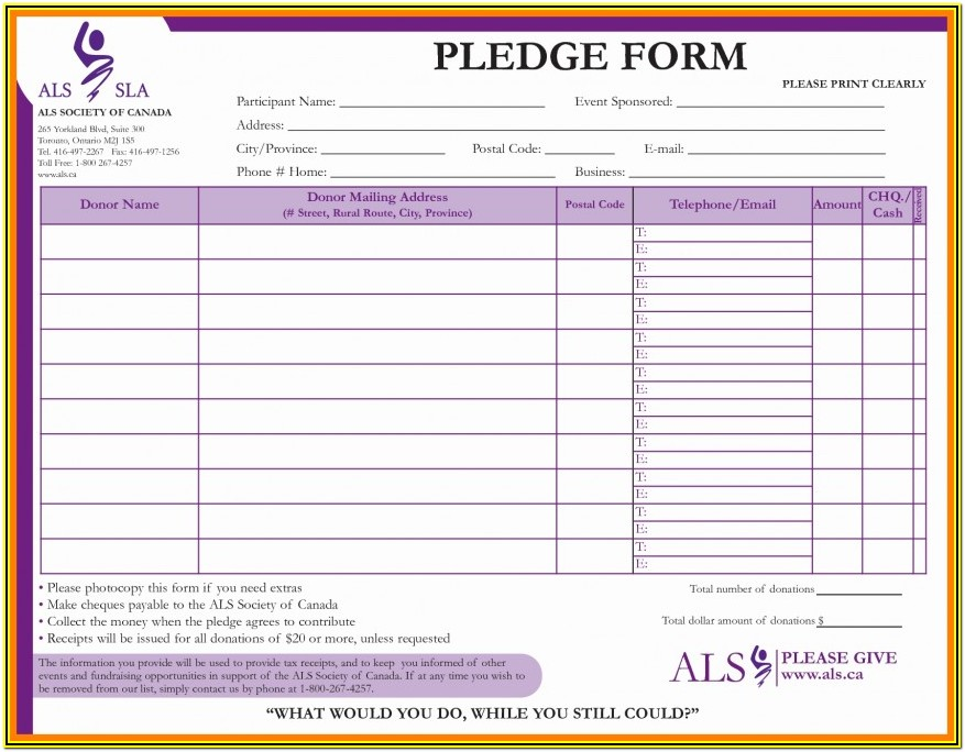 Fundraising Pledge Form Template