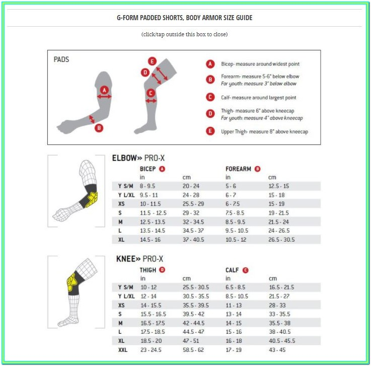 G Form Elbow Pads Sizing Chart