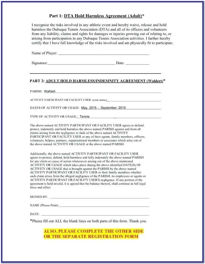 Generic Hold Harmless Agreement Form