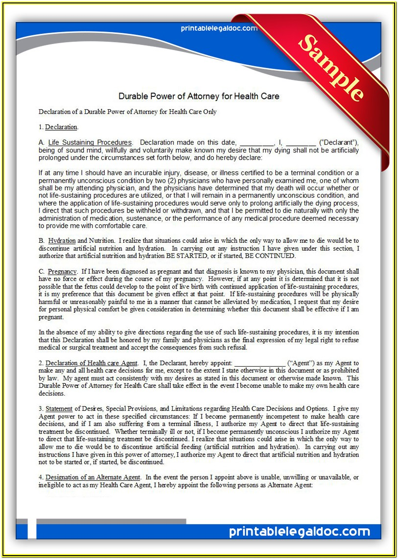 Generic Power Of Attorney Form