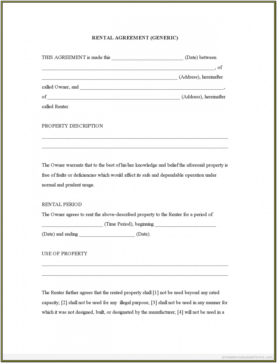 Generic Rental Agreement Form