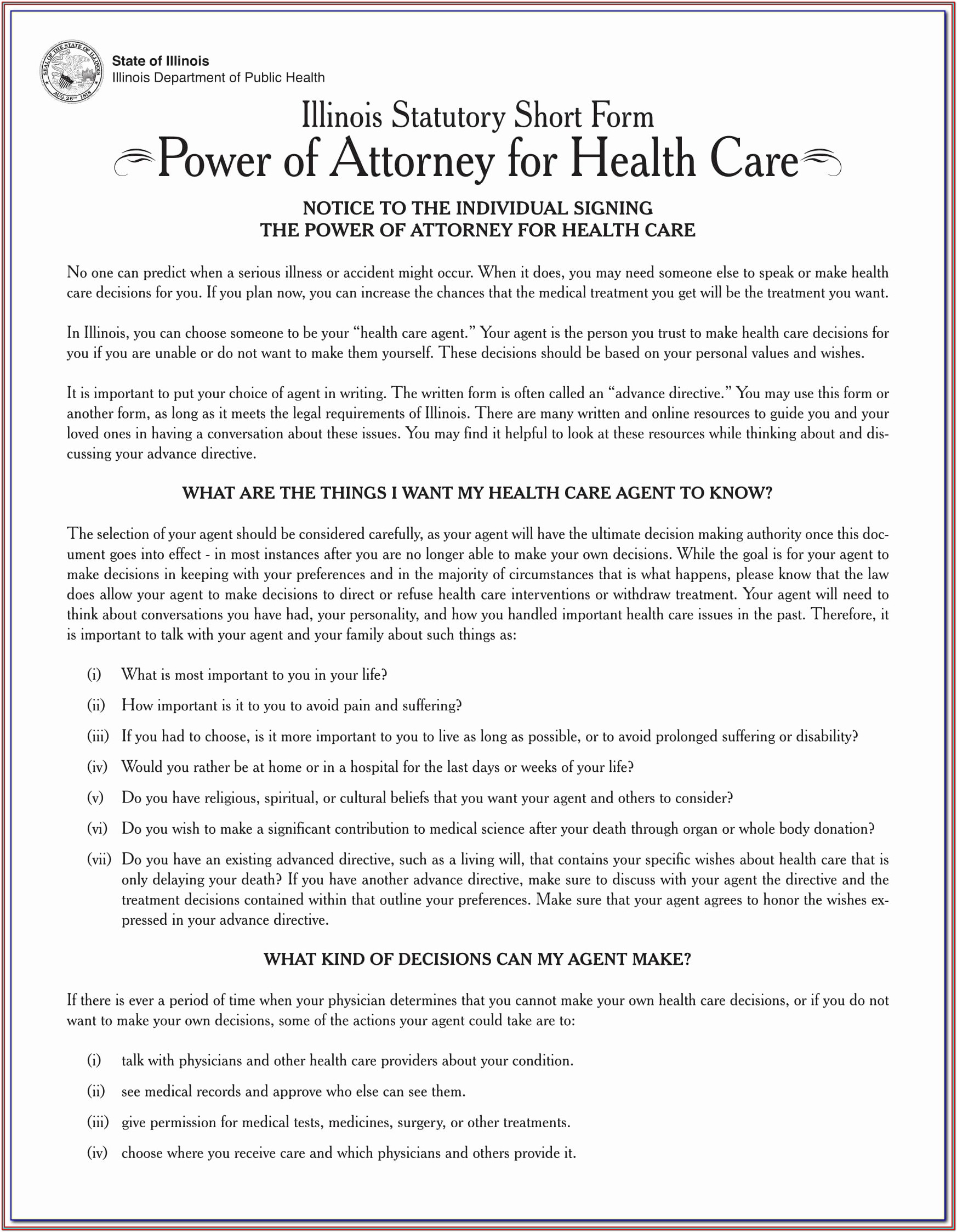 Georgia Advance Directive For Health Care Form