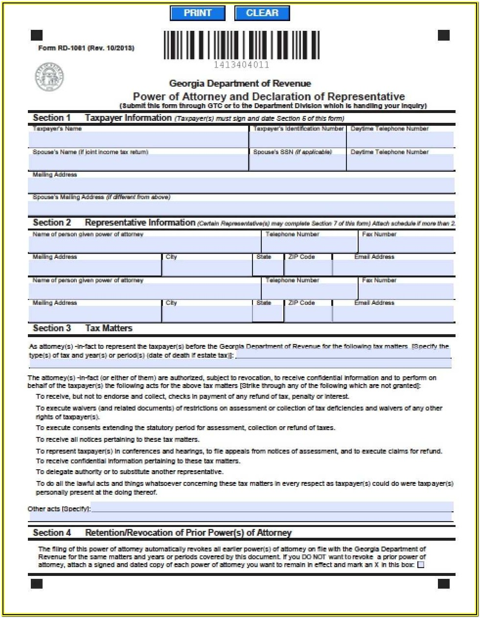 Georgia Durable Power Of Attorney Form 2019