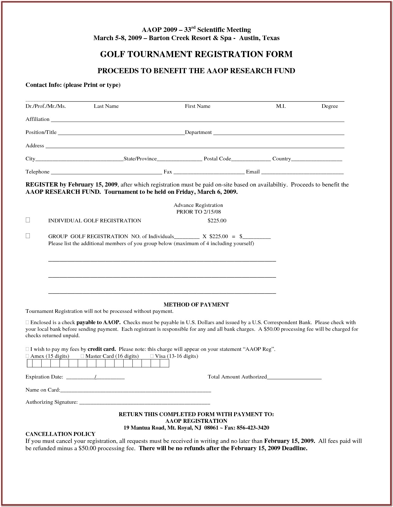 Golf Registration Form Template