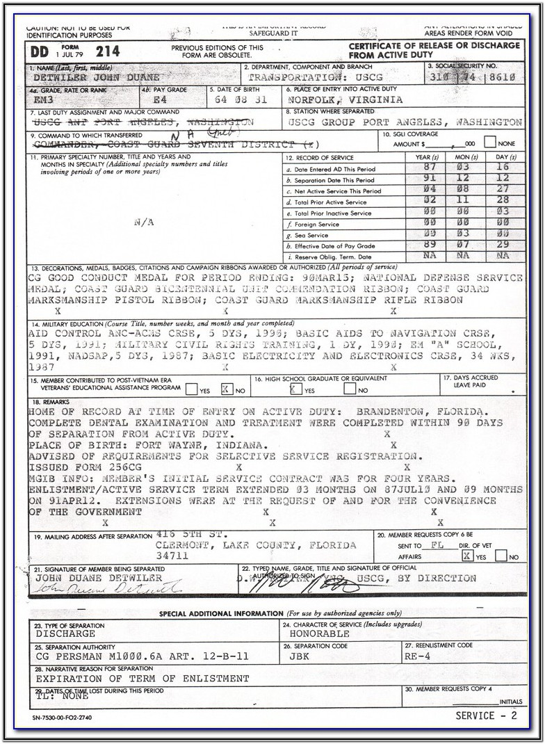 Government Form Dd 214