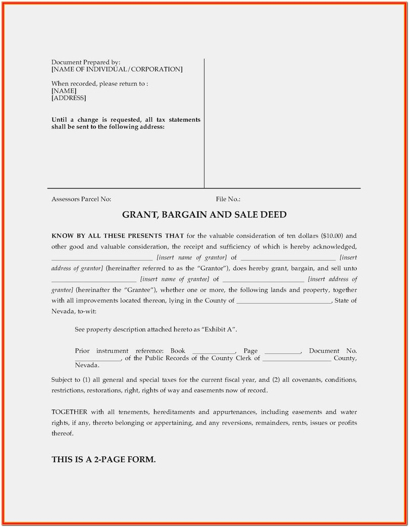 Grant Bargain Sale Deed Form