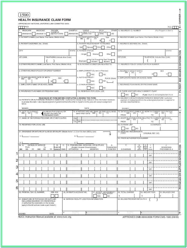 Health Insurance Claim Form Cms 1500