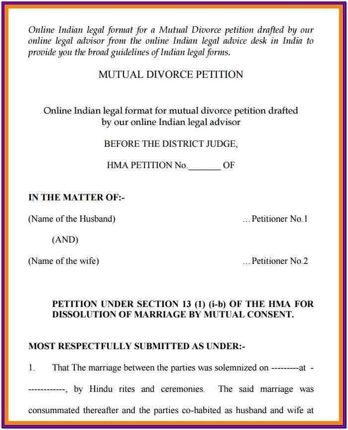 Hindu Divorce Application Form Pdf India