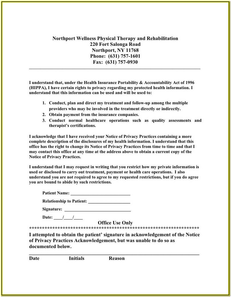 Hipaa Privacy Notice Form