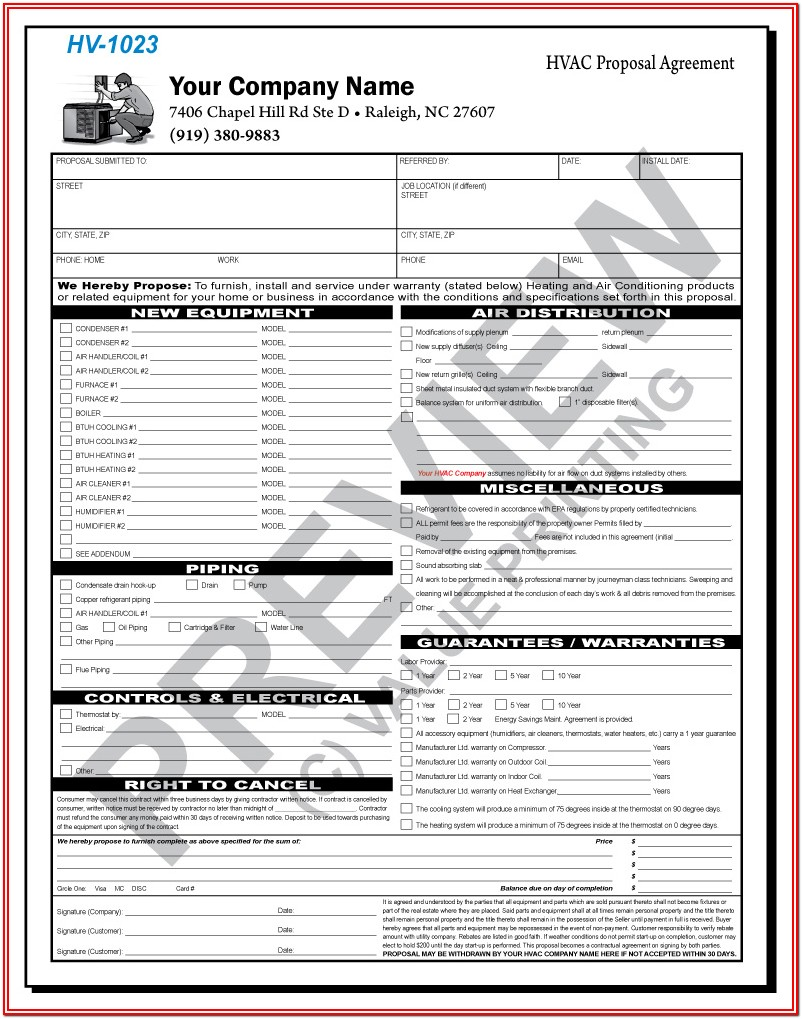 Hvac Contract Form