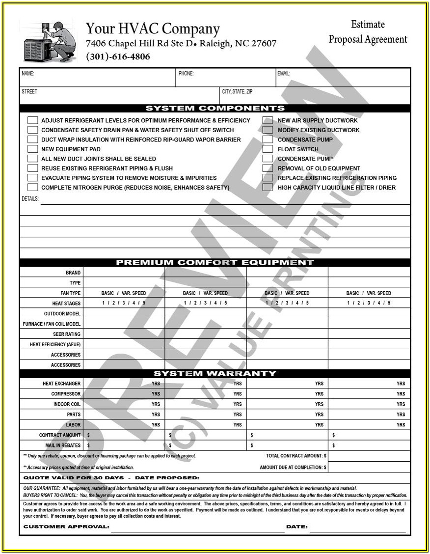 Hvac Proposal Forms