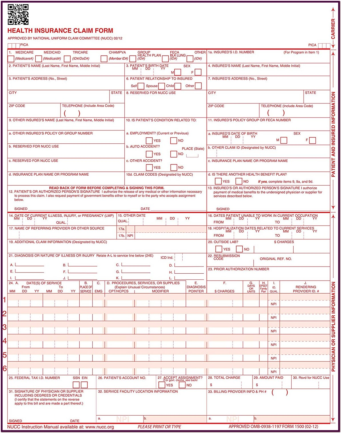 Icd 10 Cms 1500 Form Sample