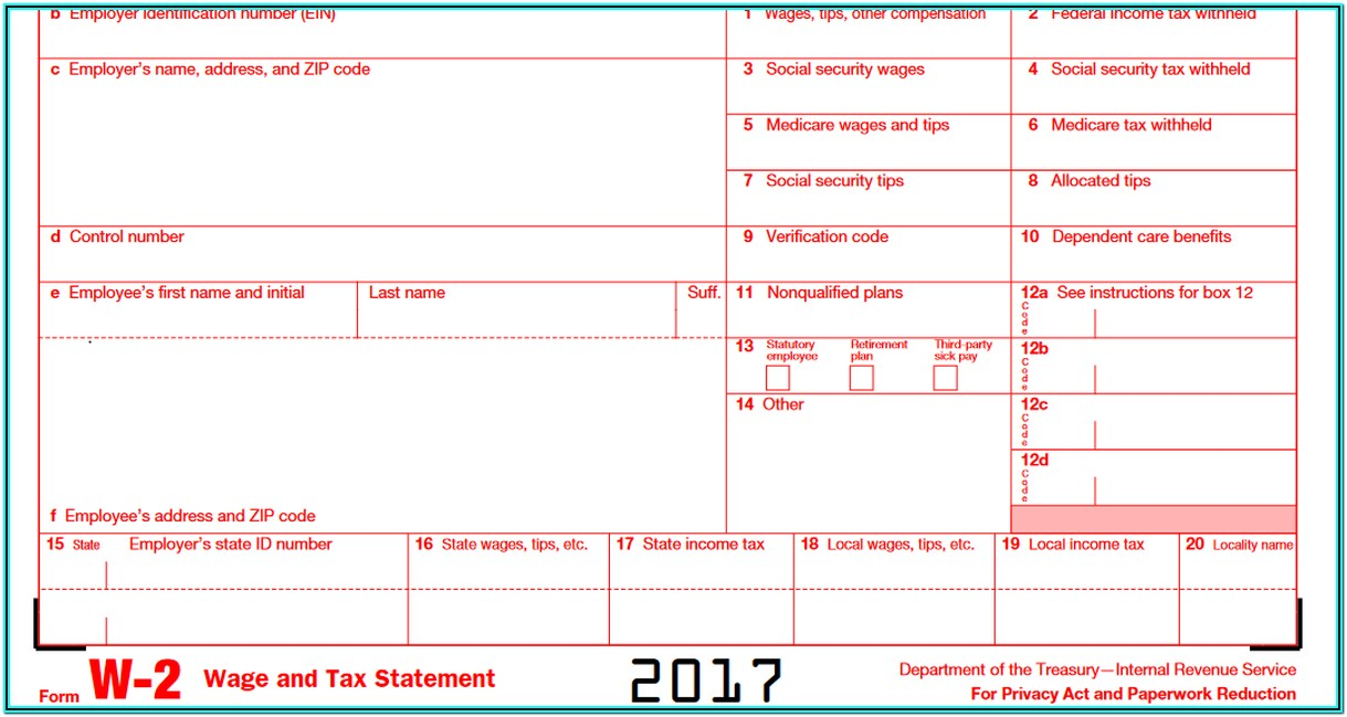 Income Tax W2 Form