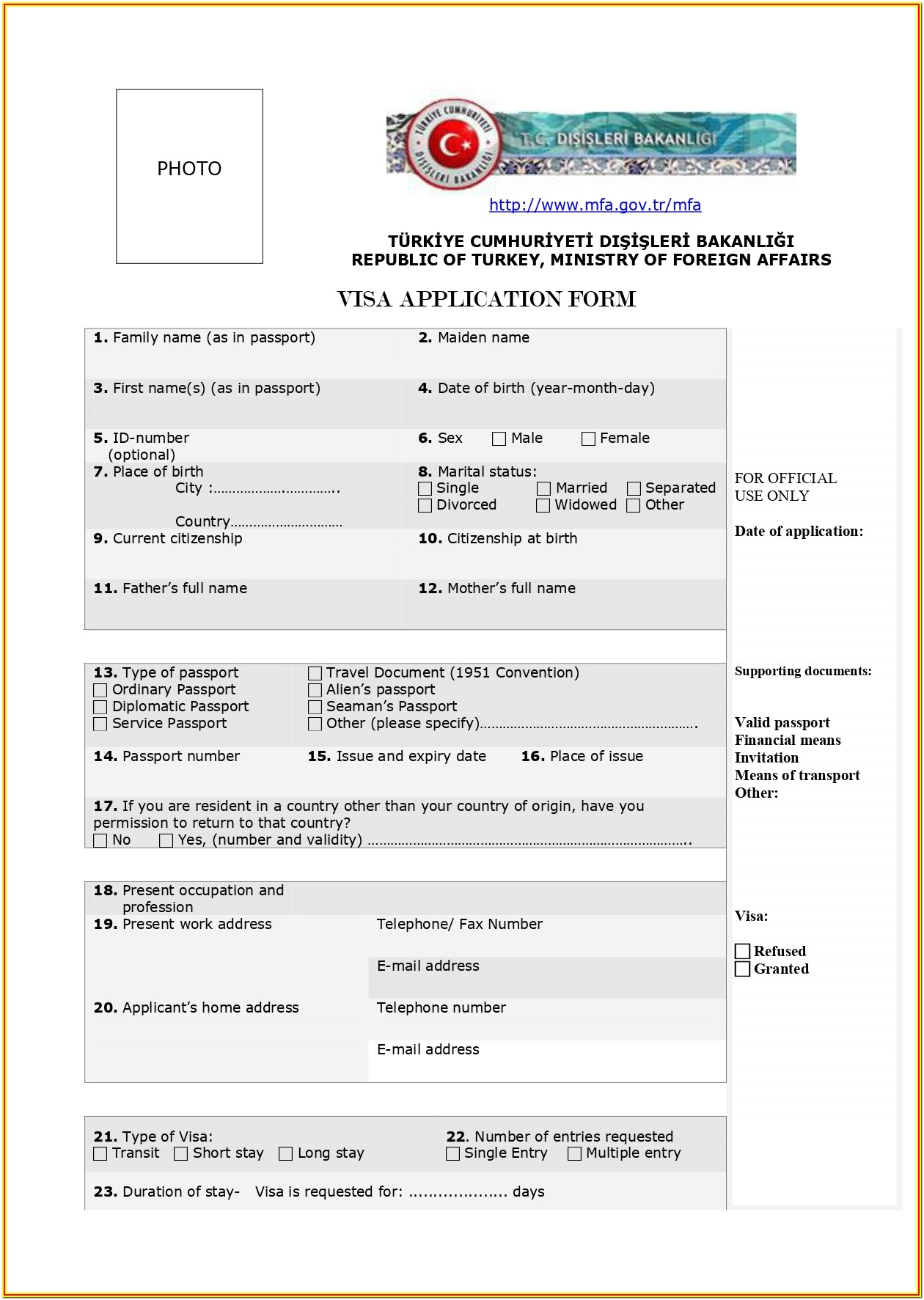 Indian Tourist Visa Application Form Pdf