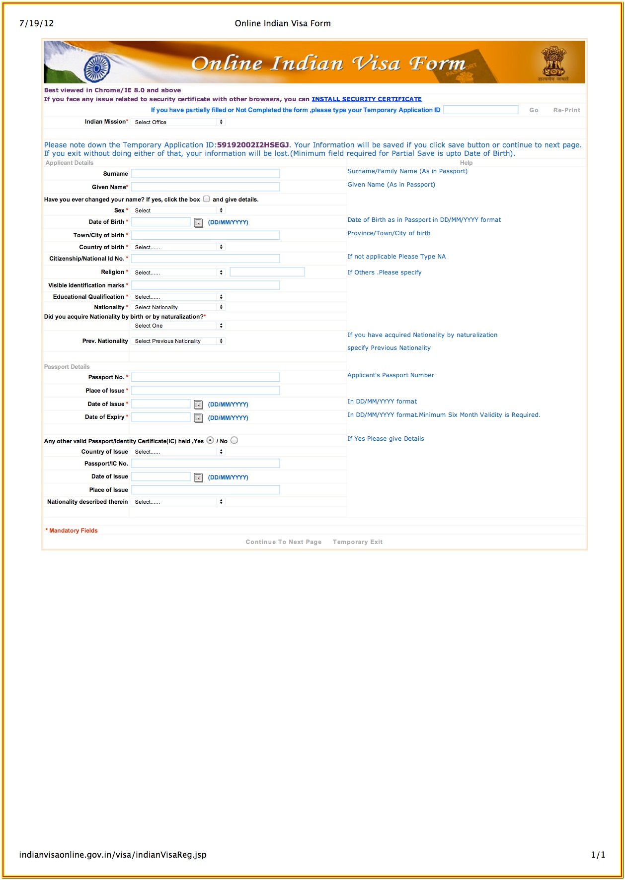 Indian Visa Application Form For Us Citizen Pdf