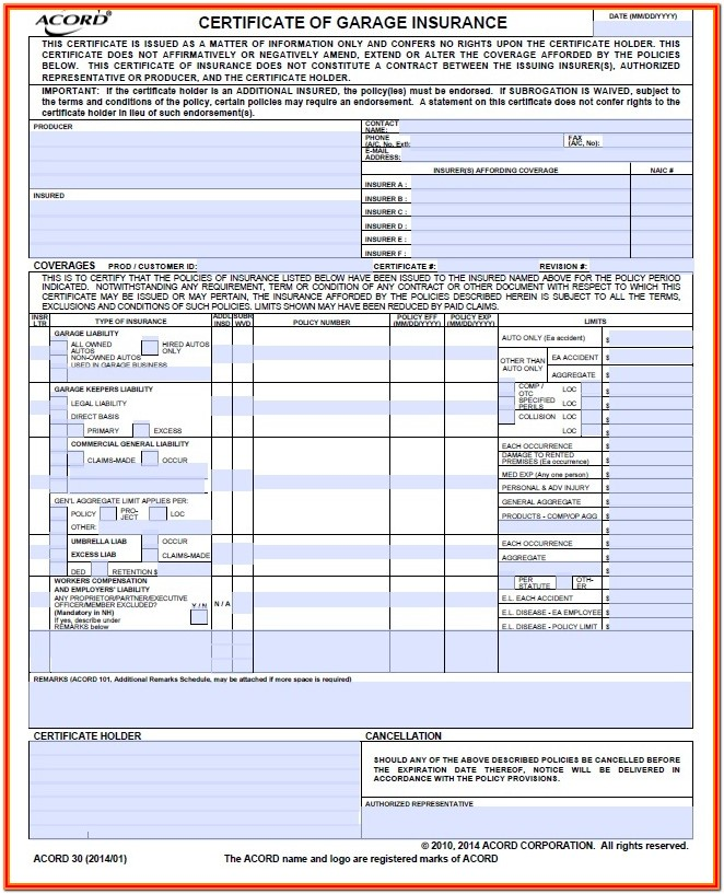 Insurance Acord Forms