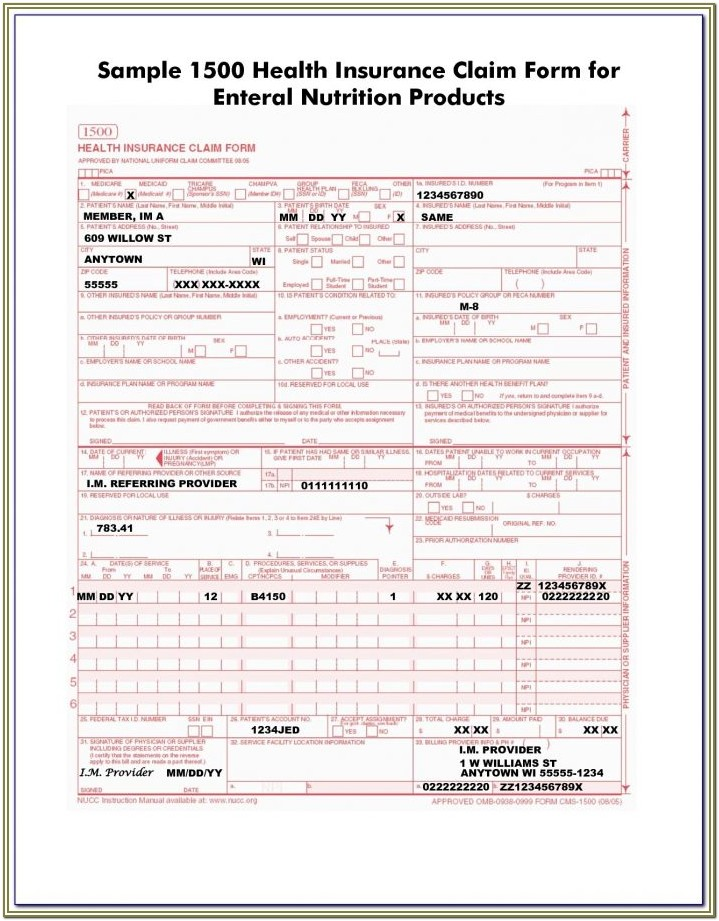 Insurance Claim Form 1500 Fillable