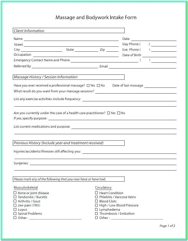 Intake Forms For Psychotherapy
