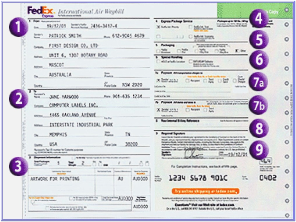 International Air Waybill Form