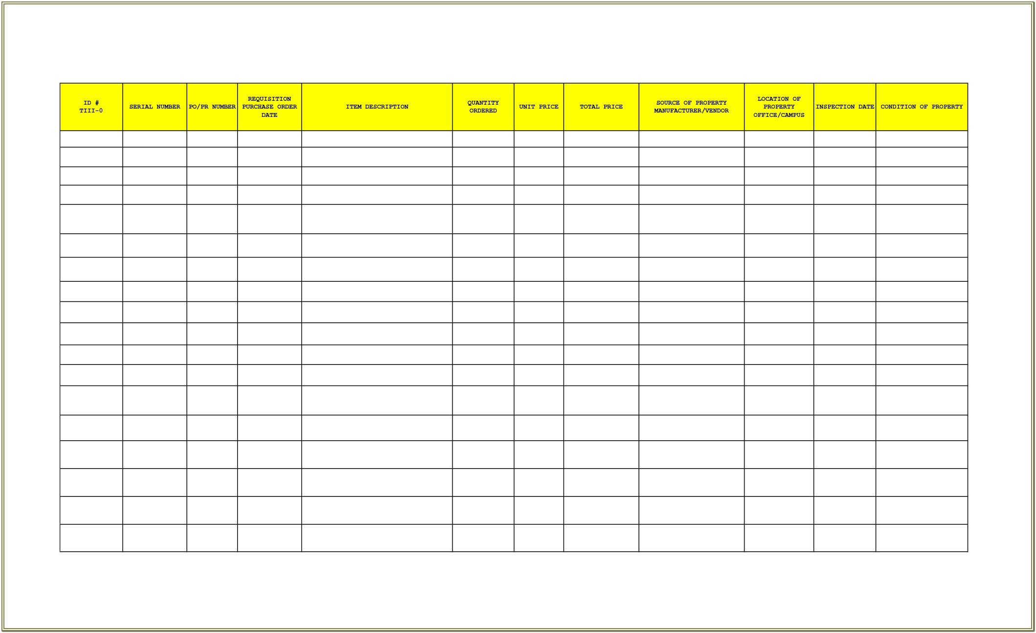 Inventory Form For Office Supplies