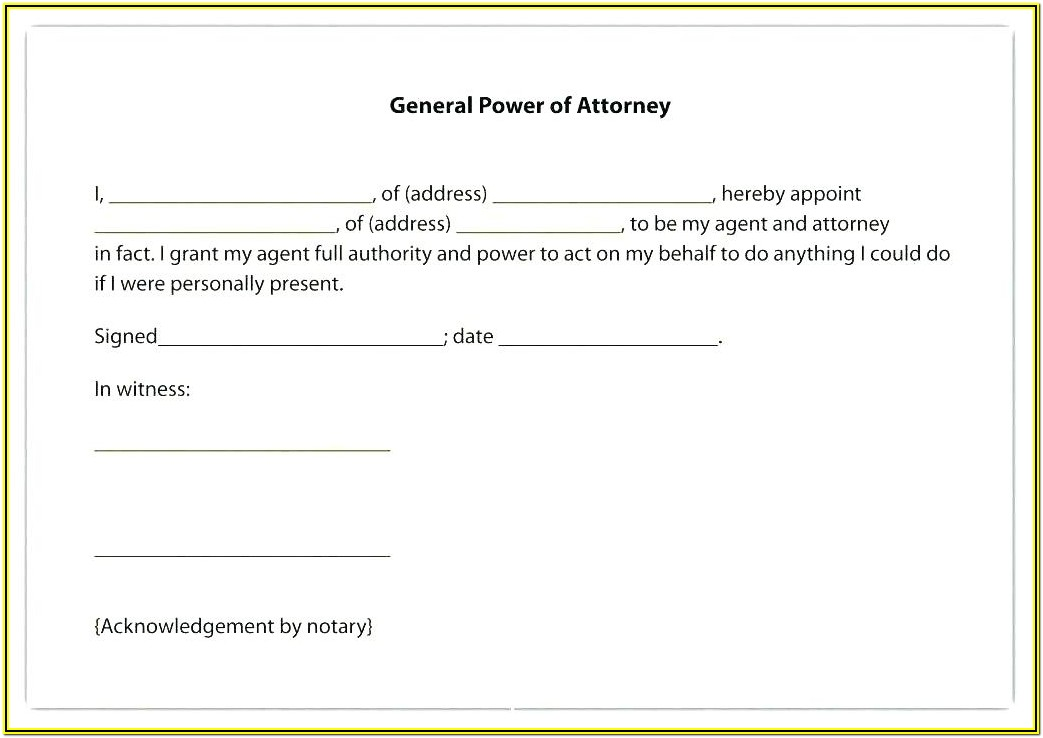 Irrevocable Power Of Attorney Format