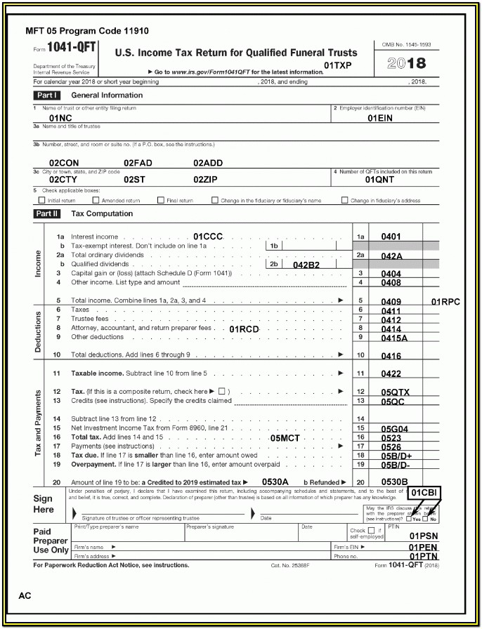 Irs Forms 1041 Instructions