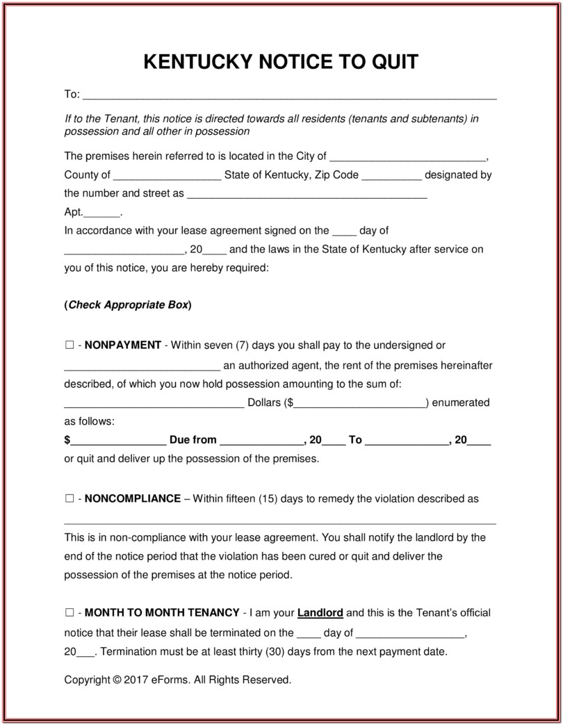 Kentucky Eviction Notice Form