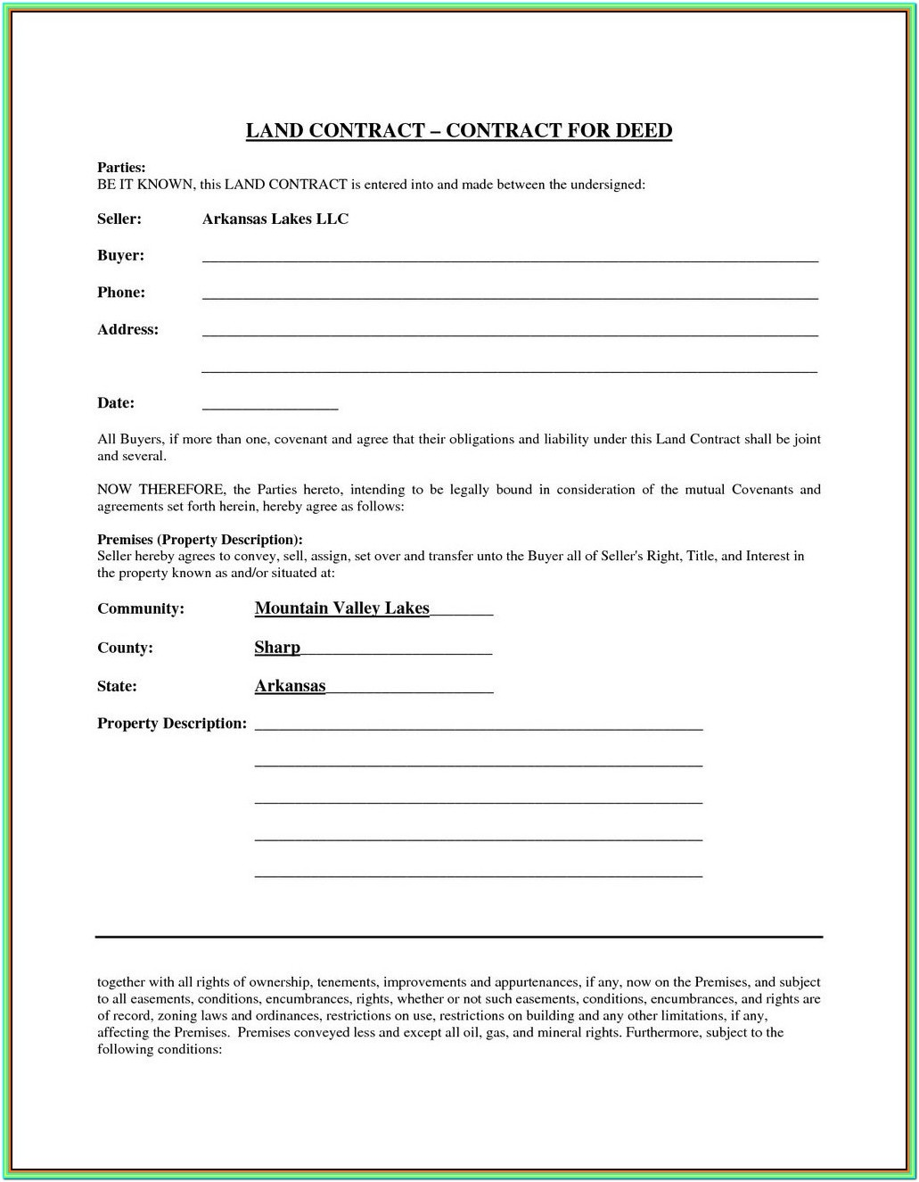 Land Contract Forms Michigan