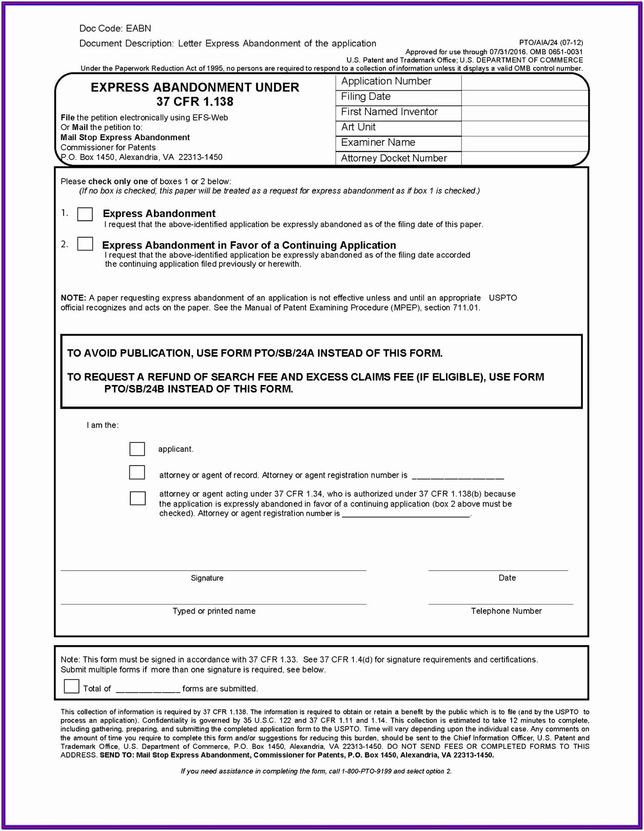 Land Patent Forms