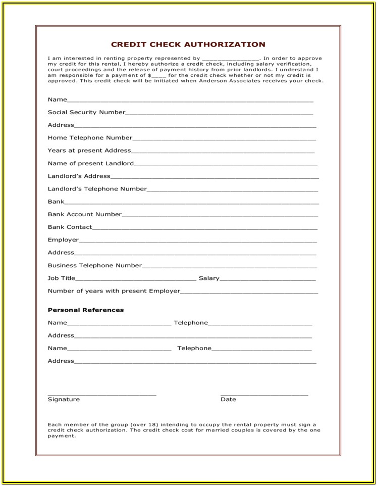 Landlord Credit Check Authorization Form