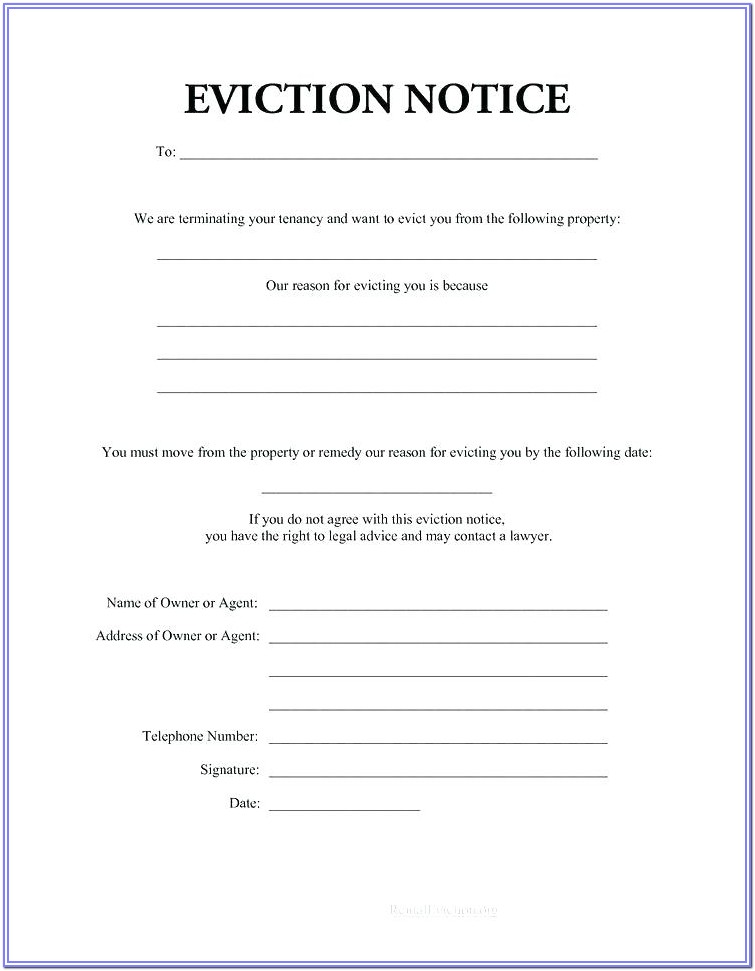 Landlord Printable Eviction Notice Form