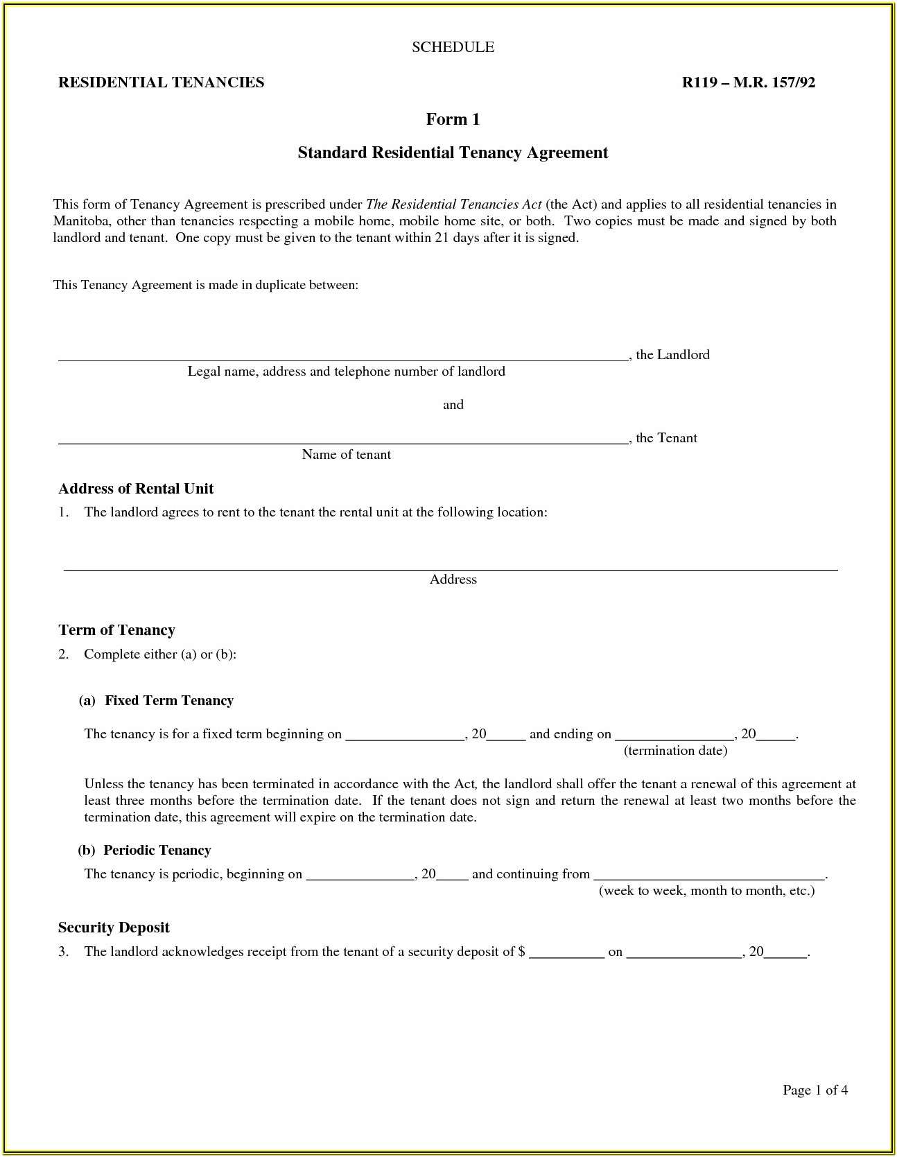 Landlord Printable Lease Agreement Forms