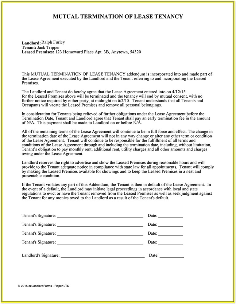 Landlord Release Of Liability Form