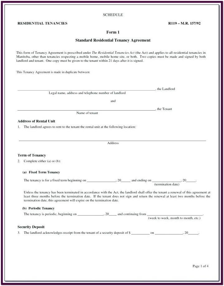 Landlord Tenant Agreement Form Alberta