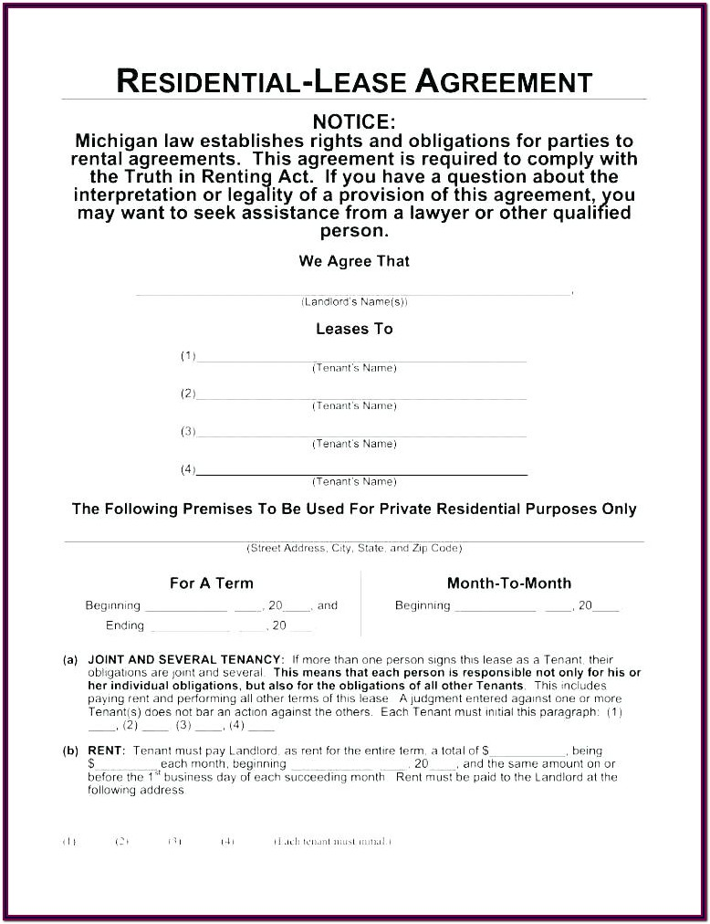 Landlord Tenant Agreement Form Doc