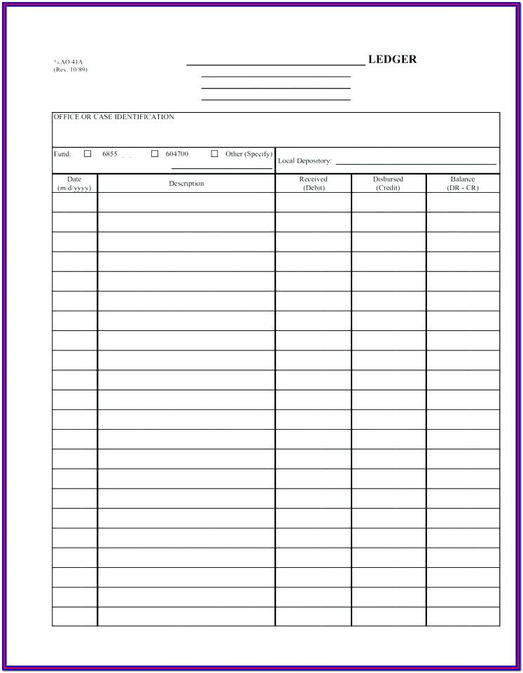 Ledger Free Printable Accounting Forms