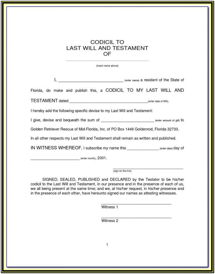 Legal Forms Last Will And Testament