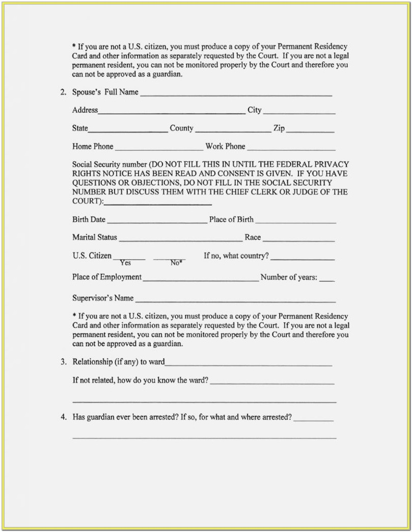 Legal Guardianship Printable Temporary Guardianship Form
